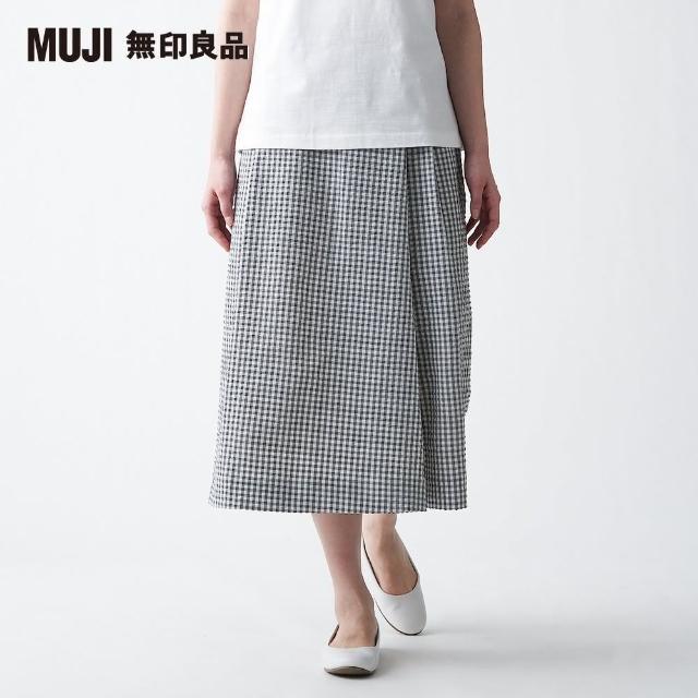 【MUJI 無印良品】女聚酯纖維彈性泡泡紗格紋寬擺褲(共2色)