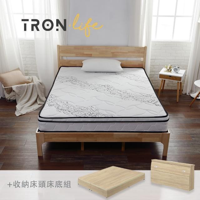 【Tronlife 好床生活】G08-4線加厚防螨乳膠獨立筒床組|雙人5尺(床頭+床墊+床底組)