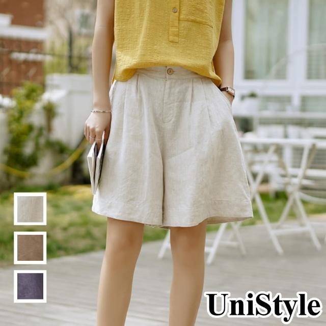 【UniStyle】原創設計師款 優質棉麻高腰顯瘦鬆緊闊腿寬鬆A字褲裙休閒短褲 女 FA5538(咖啡/藏青/麻本)