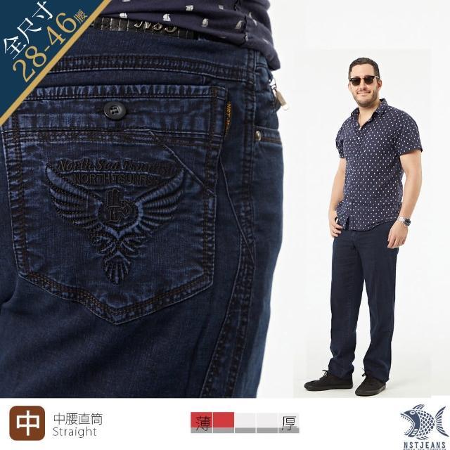【NST JEANS】特大尺碼 小尺碼 自由之鷹 夏季薄款牛仔男褲-中腰(395-66715)