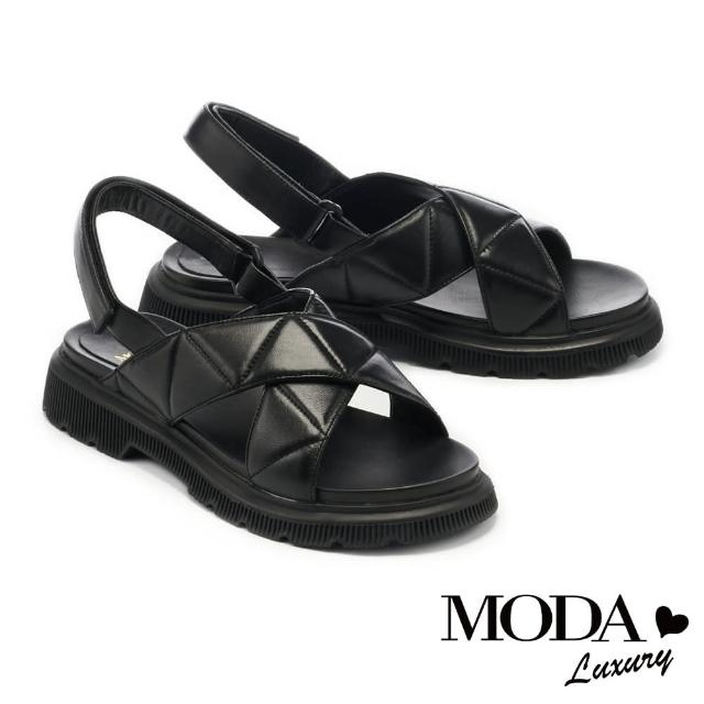 MODA Luxury【MODA Luxury】量感時髦羊皮魔鬼氈後繫帶厚底涼鞋(黑)