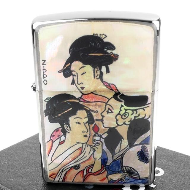 【Zippo】日系~浮世繪-當時三美人之風中女郎-天然貝殼加工打火機