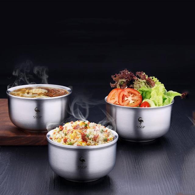 【PUSH!】餐具304不鏽鋼碗防摔防燙飯碗雙層加厚泡麵碗湯碗13.5CM(E108)