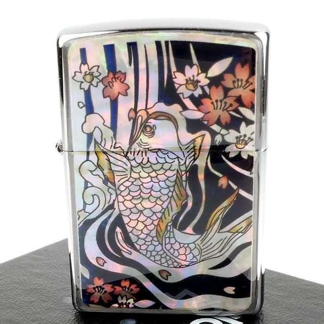 【Zippo】日系~鯉魚圖案-天然貝殼加工打火機