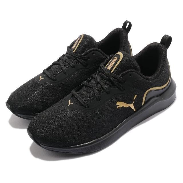 【PUMA】慢跑鞋 Softride Finesse 女鞋 健身 重訓 低強度訓練 緩衝 記憶鞋墊 黑 金(19508602)