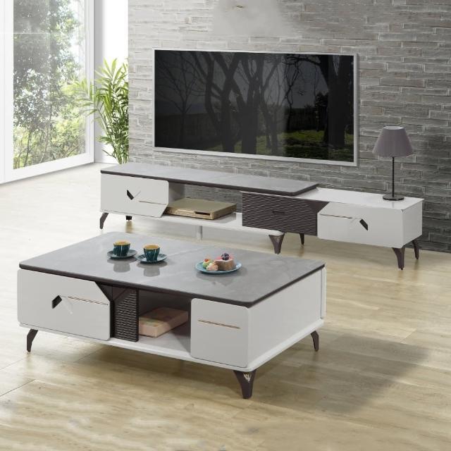 【MUNA 家居】9916型岩板伸縮電視櫃組含大茶几(長櫃 電視櫃 伸縮 櫥櫃 收納)