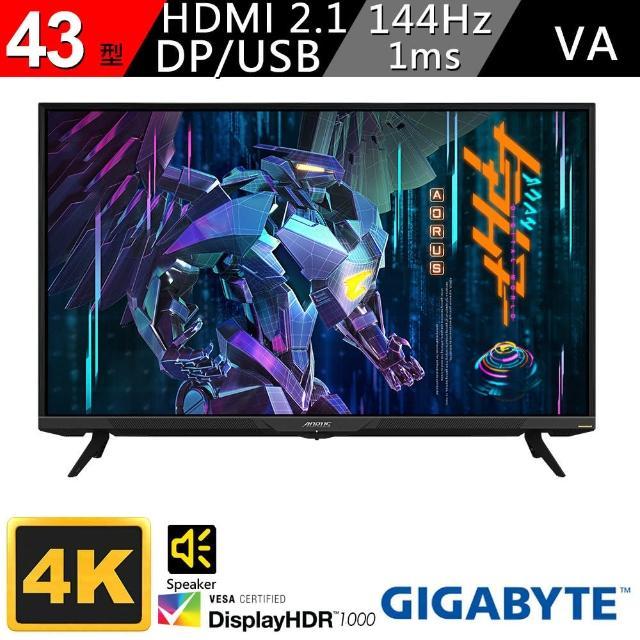 【GIGABYTE 技嘉】AORUS FV43U 43型 4K 支援HDMI2.1 HDR電競螢幕(VA/1ms/144Hz/雙喇叭/附遙控器)