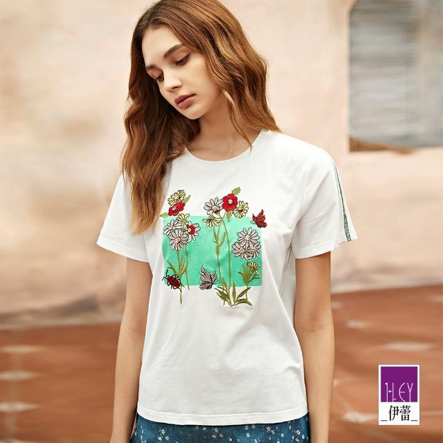 【ILEY 伊蕾】清新花朵刺繡明線車縫線上衣1212011255(白)