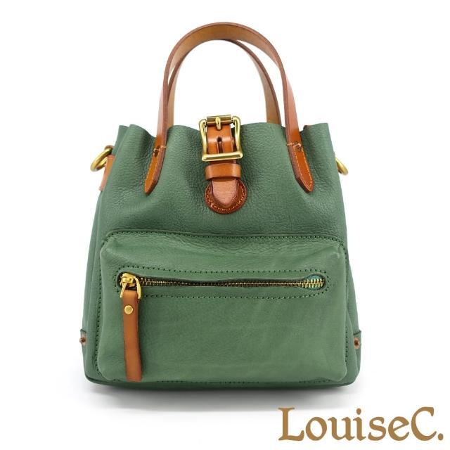 【LouiseC.】Tree House 植鞣革真牛皮配色方形手提斜背小包-綠色-可拆式內袋設計(YS11278-08)