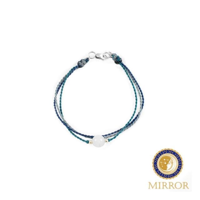【MIRROR 皇宣緣】莫蘭迪藍清透翡翠蠟線手鍊