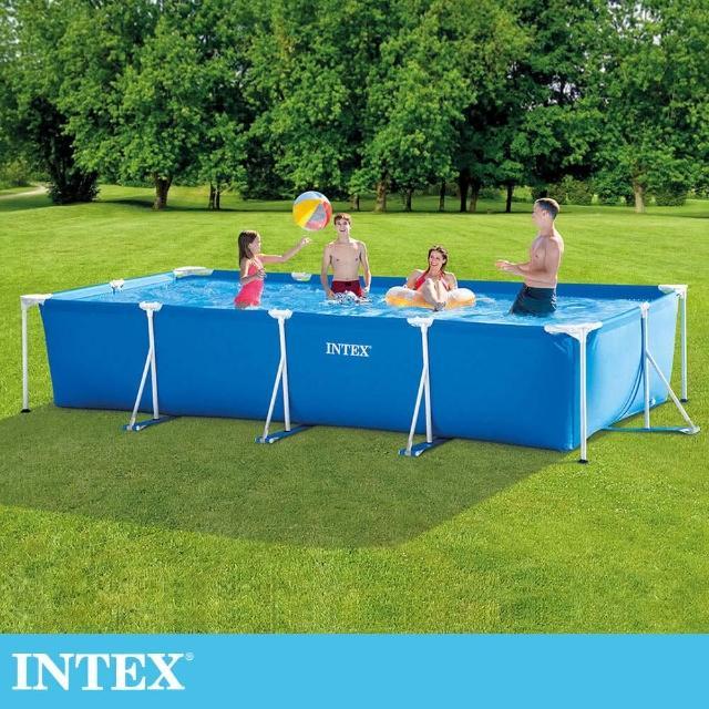 【INTEX】簡易裝長方型框架游泳池-附濾水泵450x220x84cm-7127L-適6歲+以上(28279)