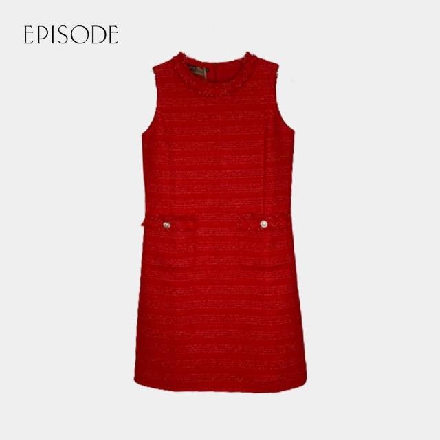 EPISODE【EPISODE】氣質簡約圓領口袋設計無袖花呢洋裝(紅)
