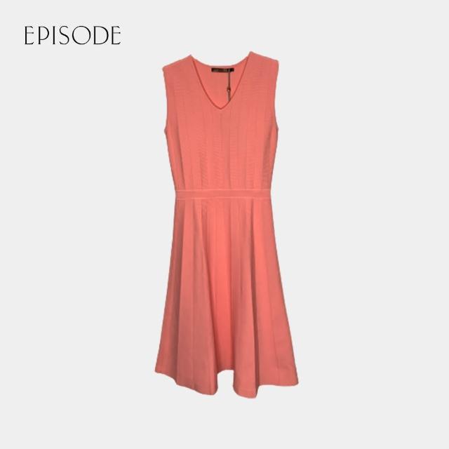 【EPISODE】甜美收腰V領無袖針織洋裝(粉色)
