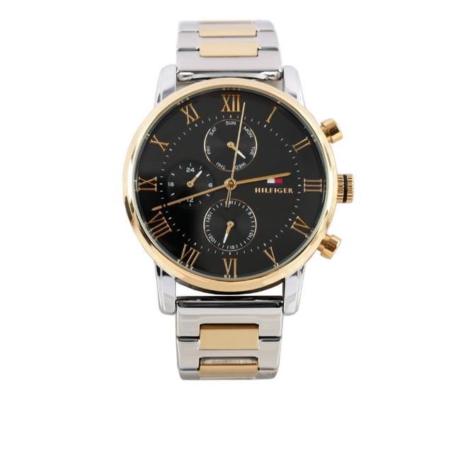 【Tommy Hilfiger】Kane 不鏽鋼黑色鏡面三眼手錶(金銀雙色)
