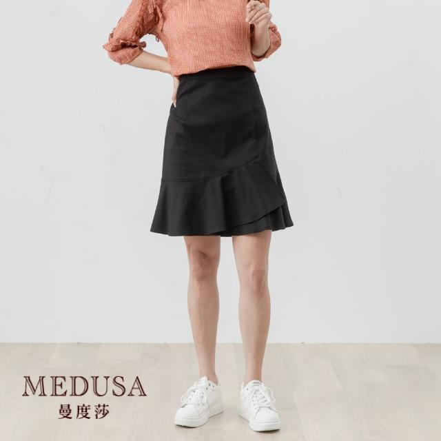 【MEDUSA 曼度莎】荷葉魚尾A字短裙(M-XL) 彈性棉質短裙 上班穿搭 職場穿搭(601-84005)