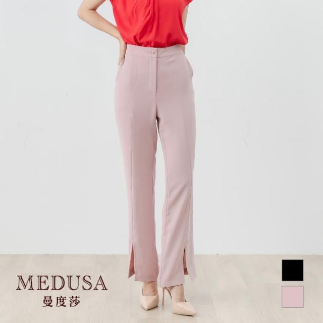 【MEDUSA 曼度莎】前開衩輕薄西裝褲(M-XL) 上班穿搭 職場穿 顯瘦顯腿長(601-91402)