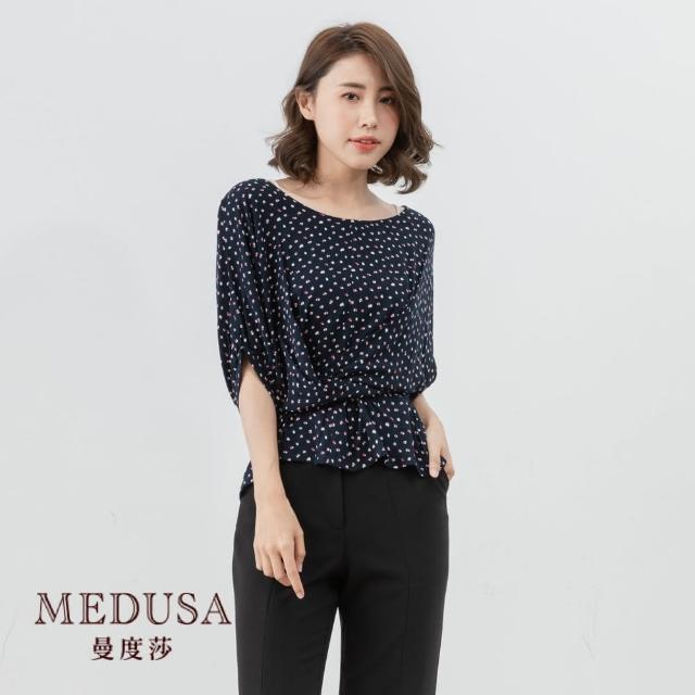 【MEDUSA 曼度莎】交叉綁帶點點收腰上衣(M-XL)|上班穿搭 職場穿搭|造型綁帶上衣(601-17301)