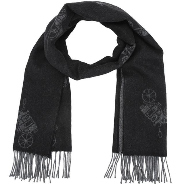 【COACH】黑灰馬車LOGO喀什米爾羊毛義大利製大款披肩圍巾