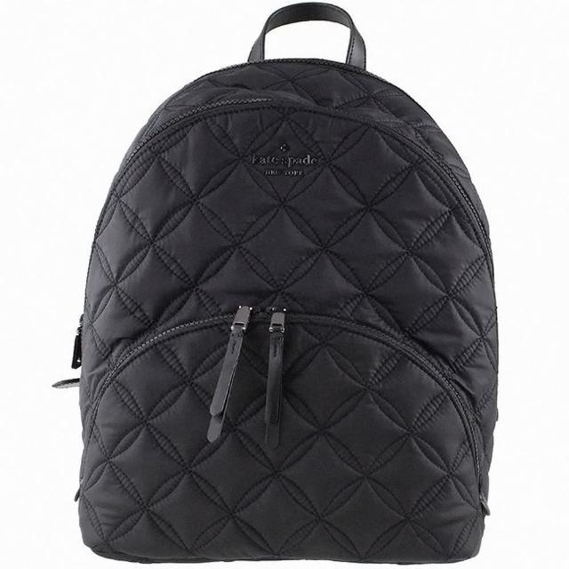 【KATE SPADE】黑色尼龍菱格壓紋大款前口袋雙拉鍊後背包