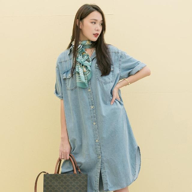 【KEZZA】丹寧襯衫式洋裝