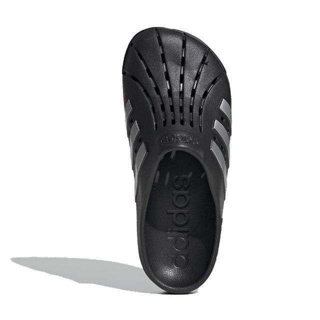 【adidas 愛迪達】拖鞋 Adilette Clog 休閒 男女鞋 愛迪達 三線 夏日 快速排水 海邊 黑 銀(FY8969)