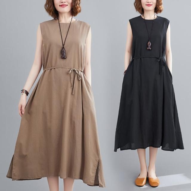 【Keer】日系簡約知性棉麻無袖寬鬆洋裝-F(共二色)