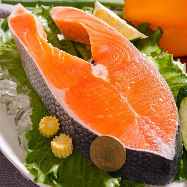 【鮮綠生活】帝王級特厚智利鮭魚切片(380g±10%/片 共8片 贈品:鮭魚頭1顆 550g±10%/顆)