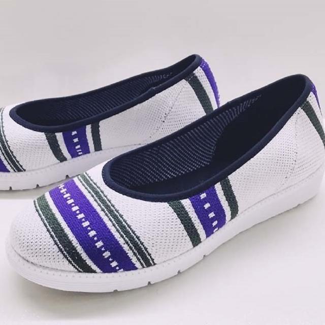 【WYPEX】圖騰針織懶人鞋 娃娃鞋 平底鞋 休閒鞋(經典圖騰設計)