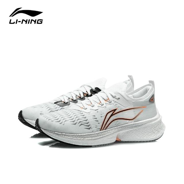 【LI-NING 李寧】飛電Discovery男子反光一體織穩定競速跑鞋 標準白(ARMR005-1)