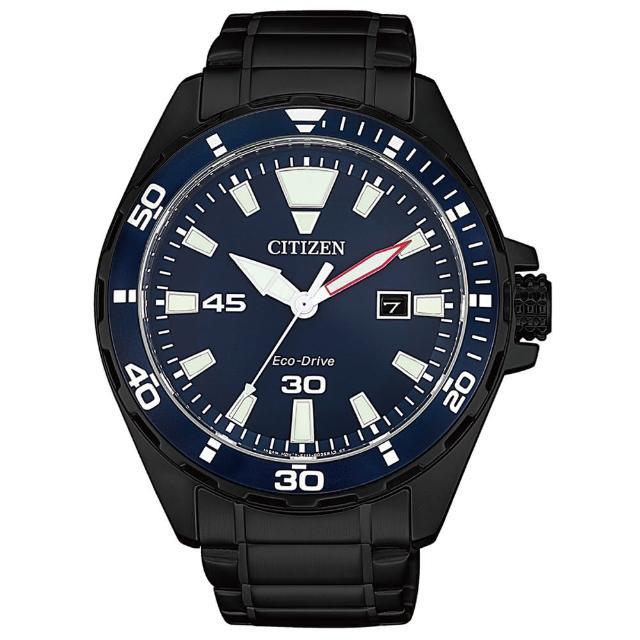 【CITIZEN 星辰】潮流型男限定款光動能時尚男錶-藍x黑/43.5mm(BM7457-82L)
