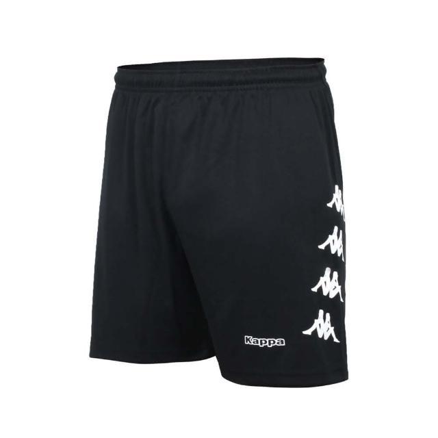 【KAPPA】男K4T運動針織短褲-台灣製 吸濕排汗 五分褲 慢跑 路跑 黑白(32166YW-005)