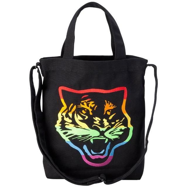 【Onitsuka Tiger】鬼塚虎 官方旗艦店 虎頭帆布袋 黑(3183A602-002)