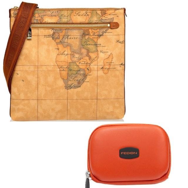 【Alviero Martini】義大利地圖包 限量福袋組 斜側背包+時尚硬殼卡片包(地圖黃)
