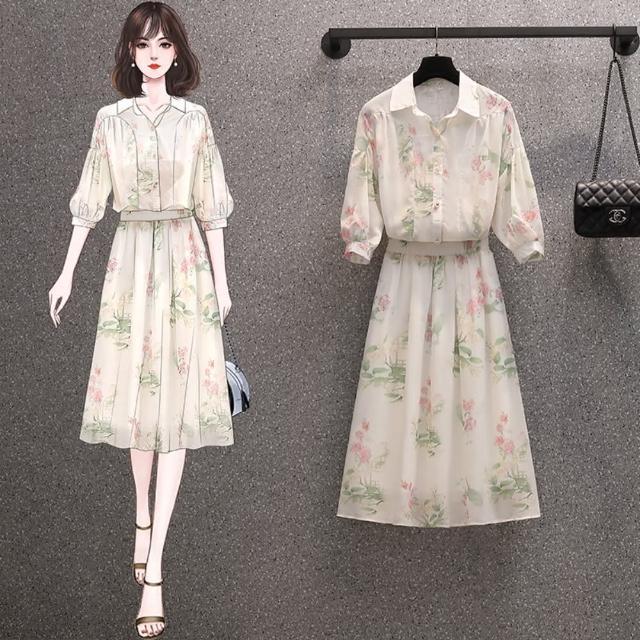 【KVOLL】清新優雅花印翻領五分袖衣裙二件套L-4XL