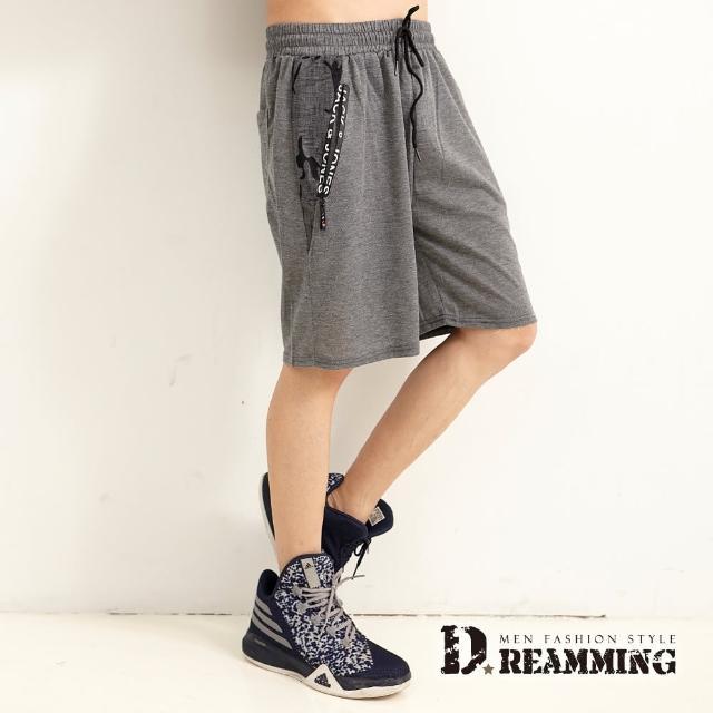 【Dreamming】迷彩拼接鬆緊抽繩運動休閒短褲 透氣 輕薄(共三色)