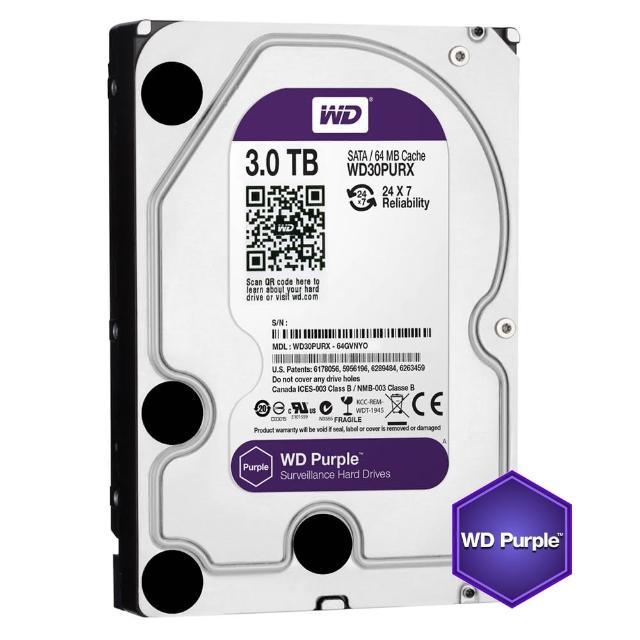 【搭SanDisk 128GB 記憶卡】WD 威騰 紫標 3TB 3.5吋監控系統硬碟(30PURZ)