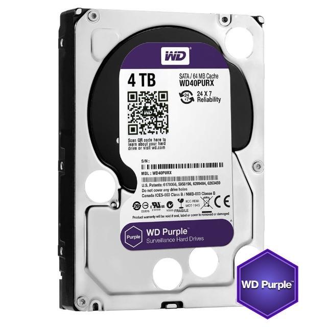 【搭SanDisk 64GB 記憶卡】WD 威騰 紫標 4TB 監控專用 3.5吋 SATA硬碟(WD40PURZ)