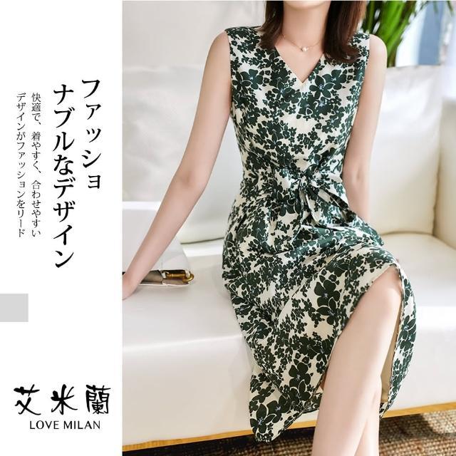 【艾米蘭】韓版優雅氣質V領無袖印花造型洋裝(M-XL)