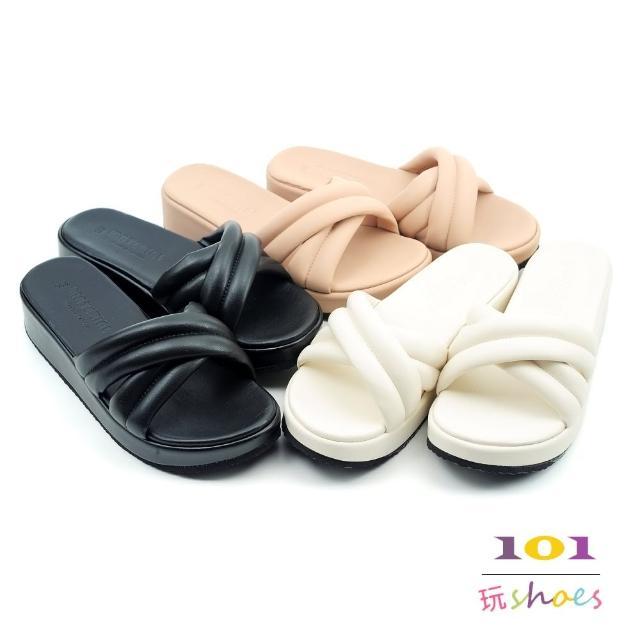 【101 玩Shoes】mit.日式簡約厚底韓系交叉拖鞋(黑/粉/米.36-40碼)