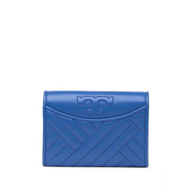 【TORY BURCH】專櫃新款防刮皮革拉鍊對折短夾 手拿包 零錢包(皮夾 短夾 手拿包 海軍藍色)
