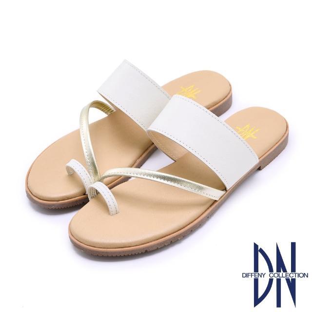 【DN】涼鞋_MIT真皮透氣一字寬版平底套趾涼拖(白)
