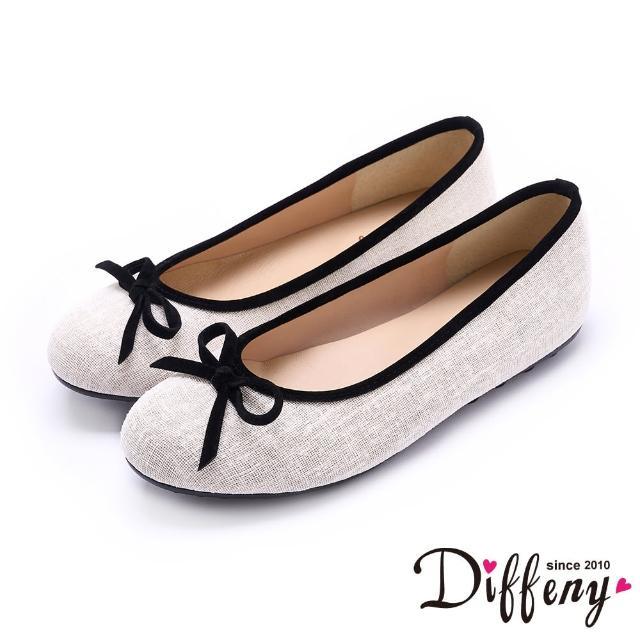 【Diffeny】平底鞋_ MIT珠光蝴蝶結滾邊平底娃娃鞋(米白)