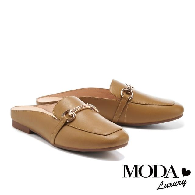 【MODA Luxury】文青質感全真皮金釦方頭平底穆勒拖(棕)