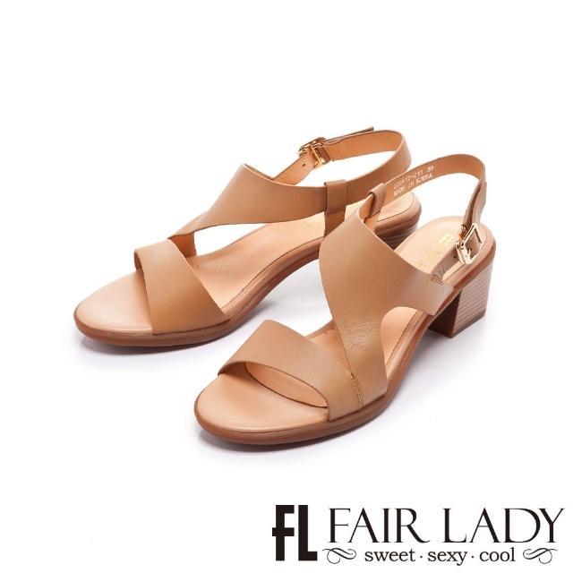 【FAIR LADY】盛夏 Z型原色後拉帶粗跟涼鞋(可可、222417)