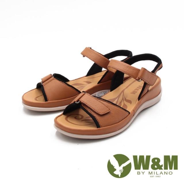 【W&M】女 牛皮休閒黏釦帶 厚底輕量涼鞋 女鞋(棕)