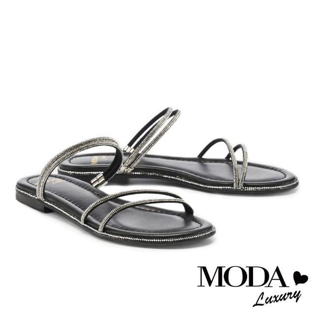 【MODA Luxury】閃耀晶鑽兩穿式平底拖鞋(黑)