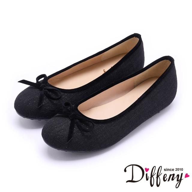 【Diffeny】平底鞋_ MIT珠光蝴蝶結滾邊平底娃娃鞋(黑)