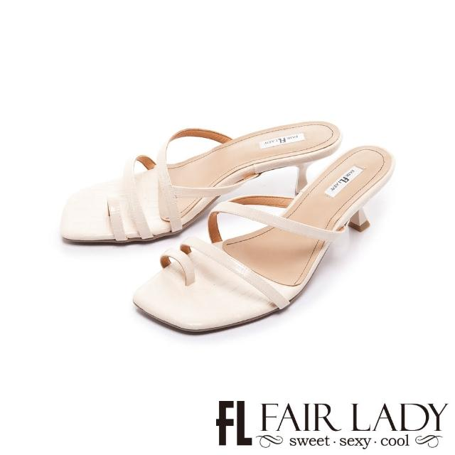 【FAIR LADY】初夏 簡約線條趾環小貓跟涼拖鞋(奶油、202402)