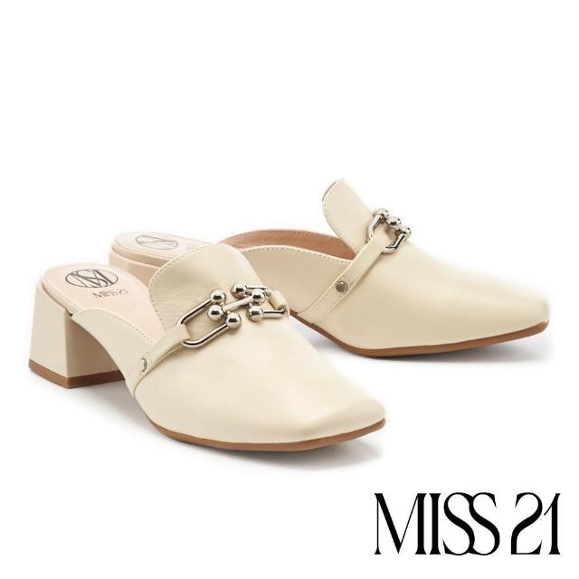 【MISS 21】復古時尚造型釦方頭粗高跟穆勒拖鞋(米)