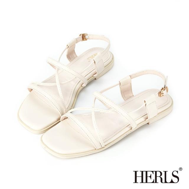 【HERLS】涼鞋-一字交叉後帶平底涼鞋(米白色)